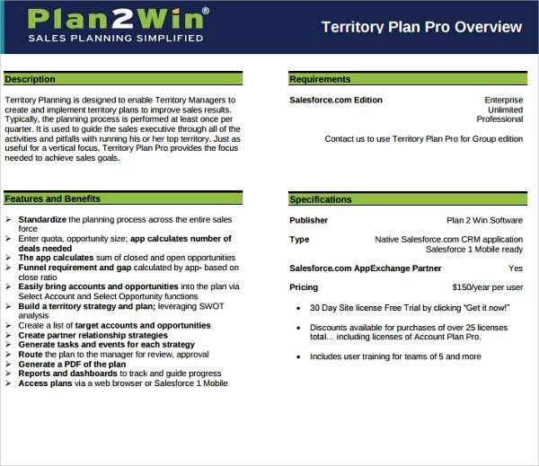 Free Business Plan Templates For Word Excel Open Office Sample Territory Plan Template 8 Free Documents In Pdf