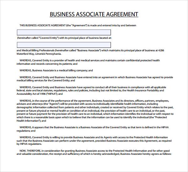 7+ Business Associate Agreement Templates Sample Templates