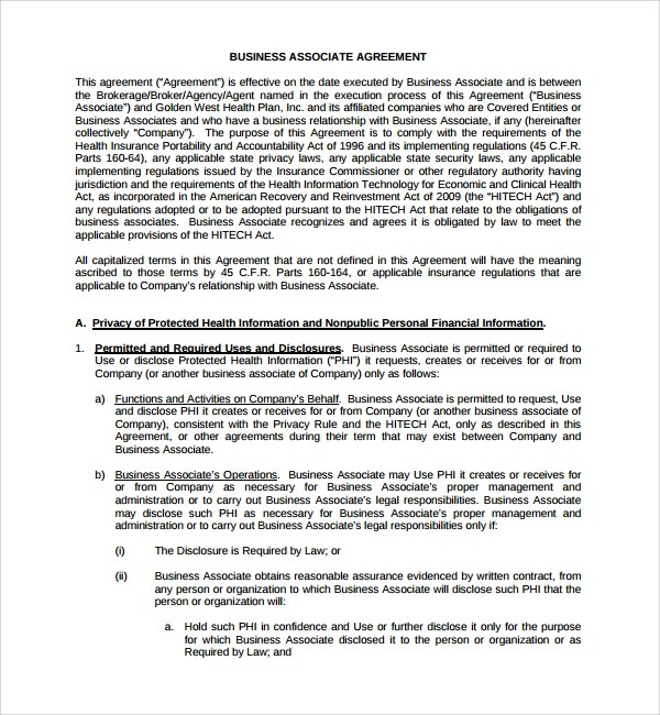 Business Associate Agreement Who Is Required – Business Associate Agreement Template