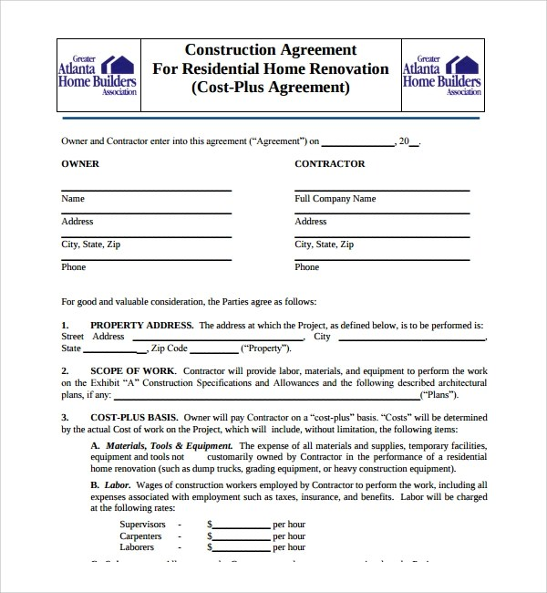Sample Construction Agreement Template - 6+ Free Documents - free construction contracts templates