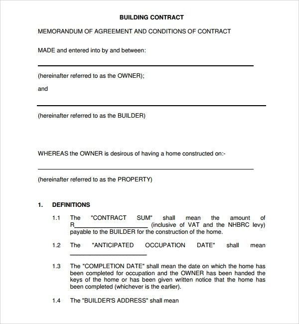 Sample Building Construction Contract Agreement | Create