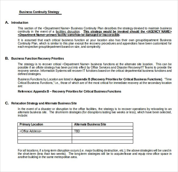 Sample Business Continuity Plan Template For Small Businesses Sample Continuity Plan Template 7 Free Documents
