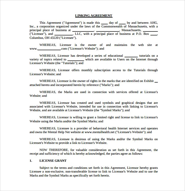 7+ Linking Agreement Templates Sample Templates