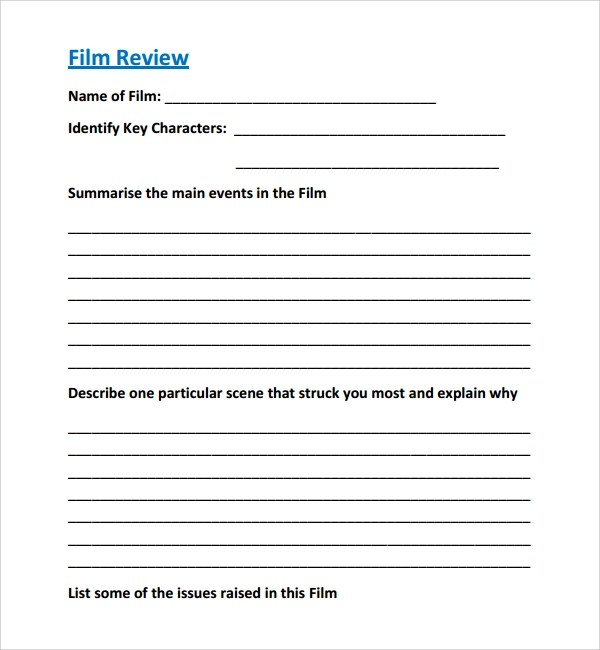 9+ Film Review Templates Sample Templates