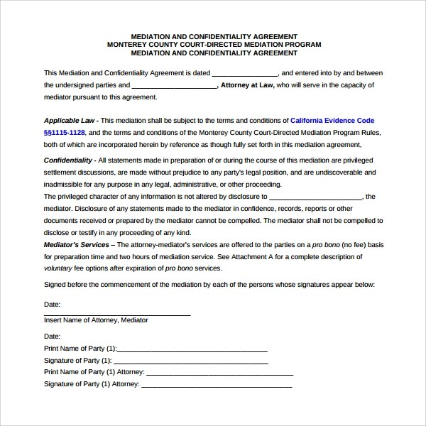 Mediation Agreement Template - 6+ Free Documents Download in PDF - settlement agreement template
