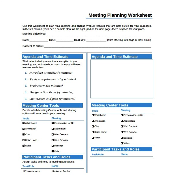 Sample Meeting Planning Template - 9+ Free Documents Download in PDF