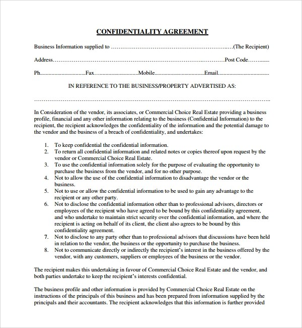 10+ Real Estate Confidentiality Agreements Sample Templates - financial confidentiality agreements