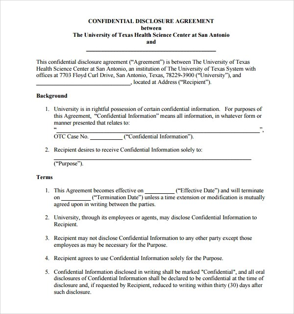 10+ Confidential Disclosure Agreements Sample Templates