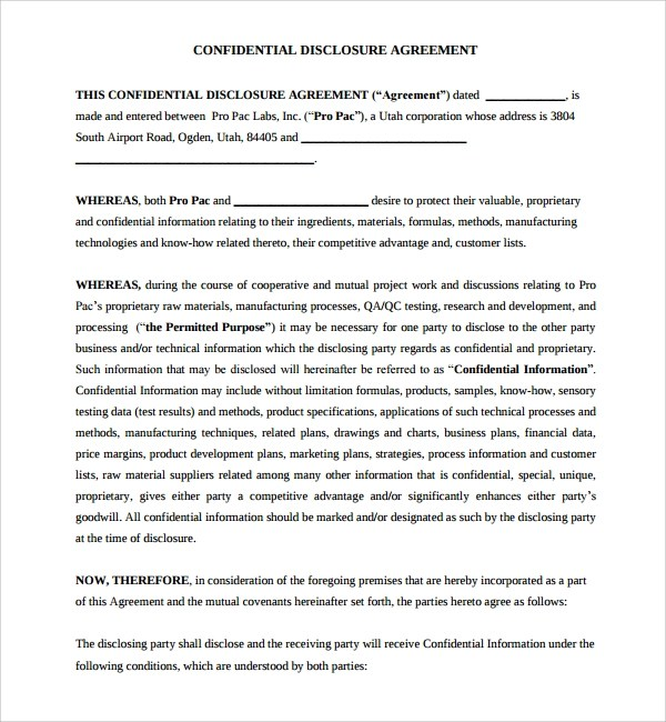 10+ Confidential Disclosure Agreements - Word, PDF, Pages
