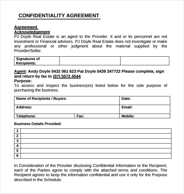 10+ Real Estate Confidentiality Agreements Sample Templates