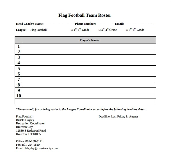10+ Football Roster Templates Sample Templates - Sports Roster Template