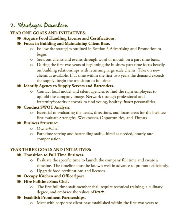 11+ Catering Business Plan Templates Sample Templates