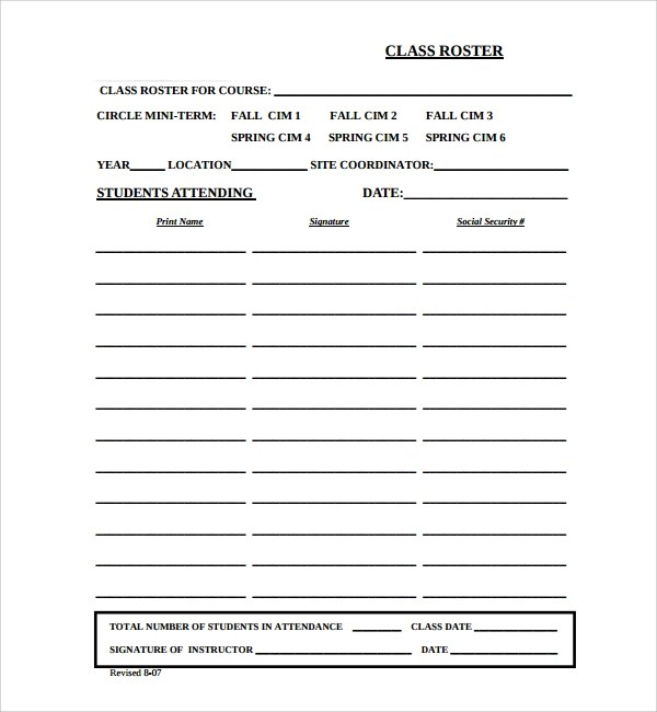 Sample Classroom Roster Template - 7+ Free Documents Download in PDF