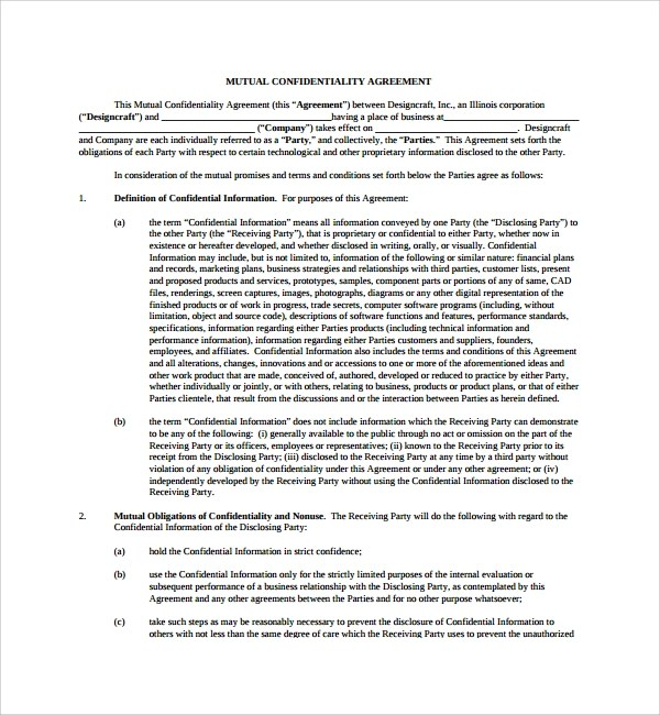 8+ Mutual Confidentiality Agreements Sample Templates - mutual agreement contract sample