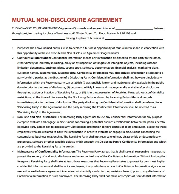 Sample Mutual Confidentiality Agreement   7+ Free Documents   Mutual  Business Agreement