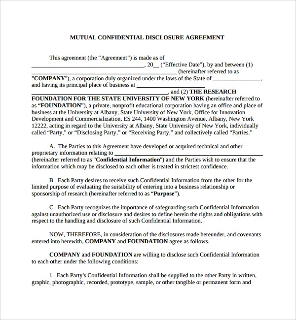 Sample Mutual Confidentiality Agreement - 8+ Free Documents Download