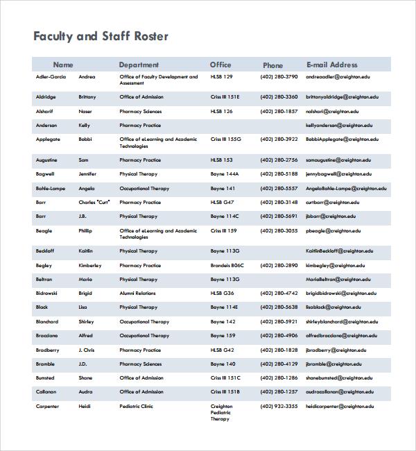 staff roster template - Teacheng - Staff Roster Template