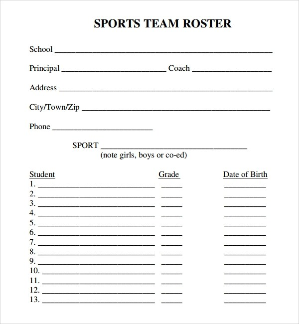 8+ Sports Roster Templates Sample Templates - Sports Roster Template