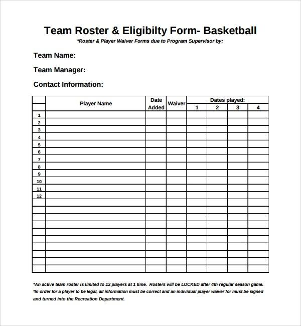 8+ Sports Roster Templates Sample Templates - free roster templates