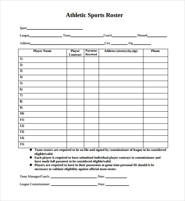 sports roster templates