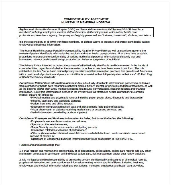 Sample Standard Confidentiality Agreement - 7+ Free Documents