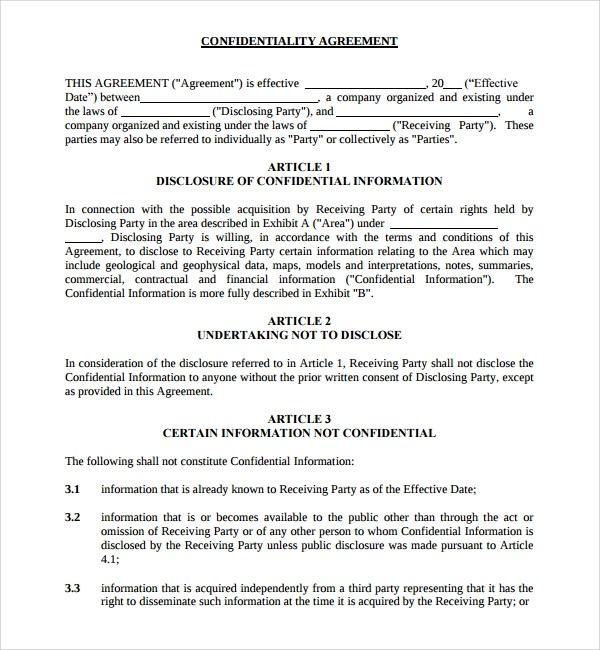 8+ Standard Confidentiality Agreements Sample Templates - standard confidentiality agreement