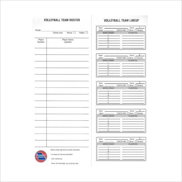 Blank Roster Sheet printable football template 10 free word – Volleyball Roster Template