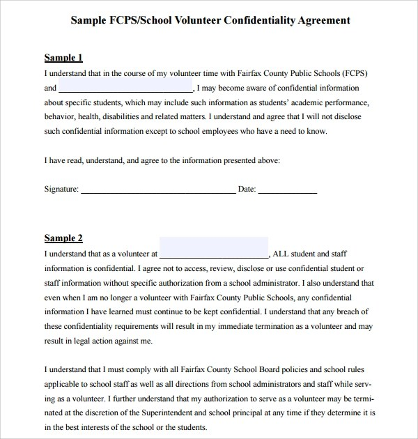 7+ Volunteer Confidentiality Agreement Templates Sample Templates - confidentiality agreement template