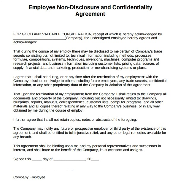 Confidentiality Agreement Free Template colbro