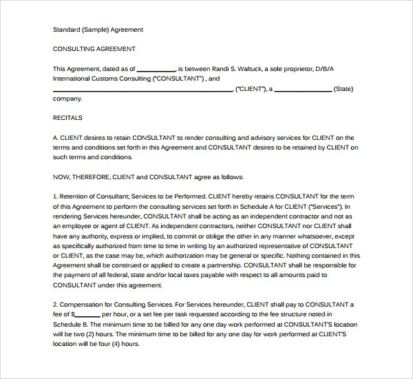 8+ Business consulting Agreements Sample Templates