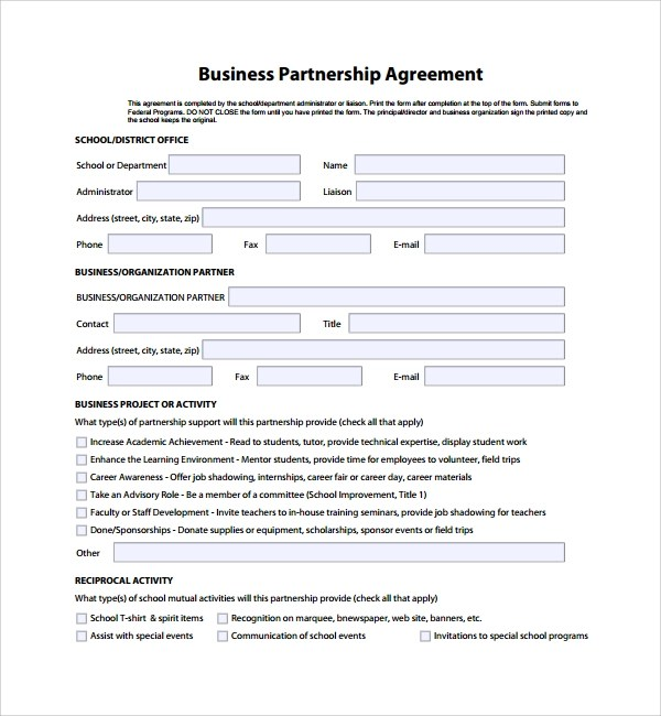 8+ Business Partner Agreements Sample Templates - Sample Business Partnership Agreement