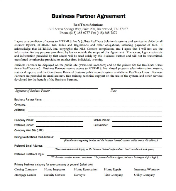 Sample Business Partner Agreement - 7+ Free Documents Download in - business partnership contract