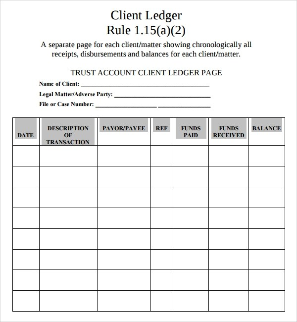 Sample Account Ledger Template - 7+ Free Documents Download in PDF - ledger accounts template