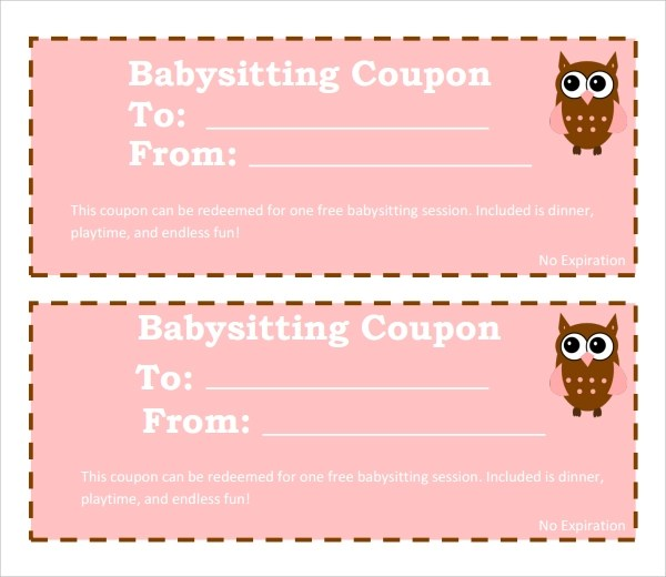 6+ Babysitting Coupon Templates Sample Templates - coupon template
