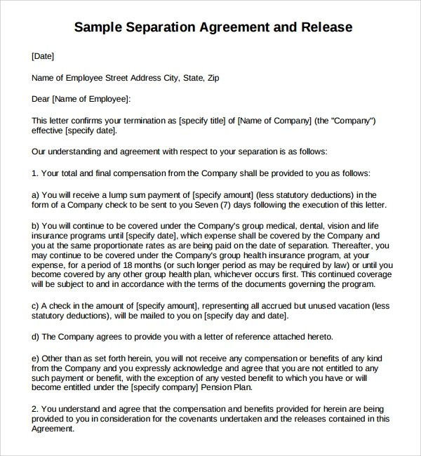 Sample Separation Agreement Voluntary Employment Separation - sample business agreements