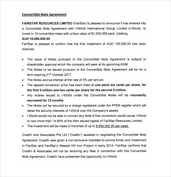 Sample Convertible Note Agreement - 6+ Free Documents Download in PDF - convertible note agreement template