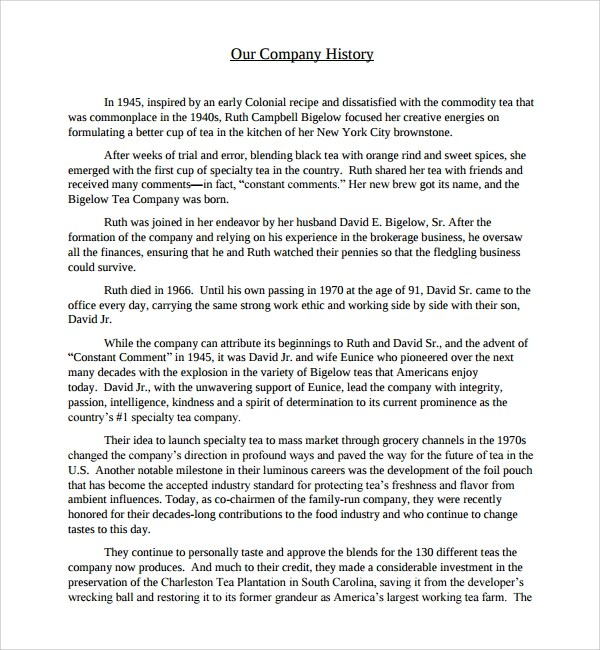 Sample Company History Template - 7+ Free Documents Download in PDF