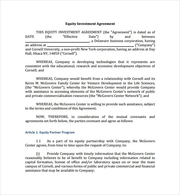 12+ Business Investment Agreements Sample Templates - business investment agreements