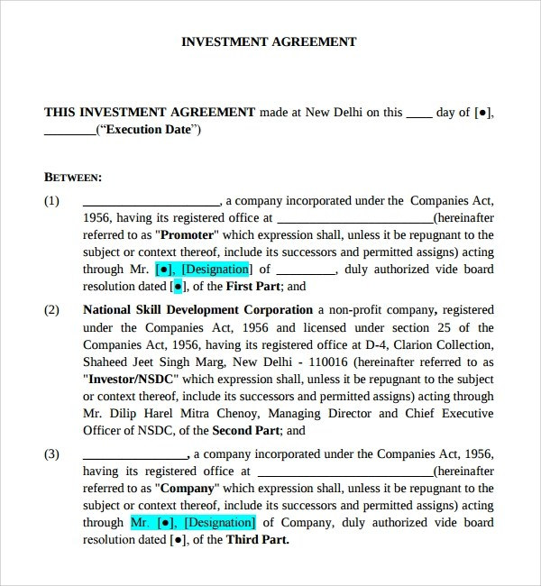 Sample Business Investment Agreement - 14+ Free Documents Download