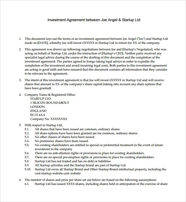 Sample Investment Agreement Template - business investment agreement