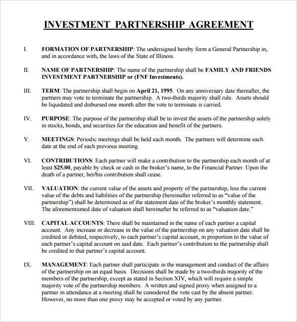 investment agreement template free