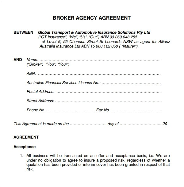 8+ Business Agency Agreements Sample Templates