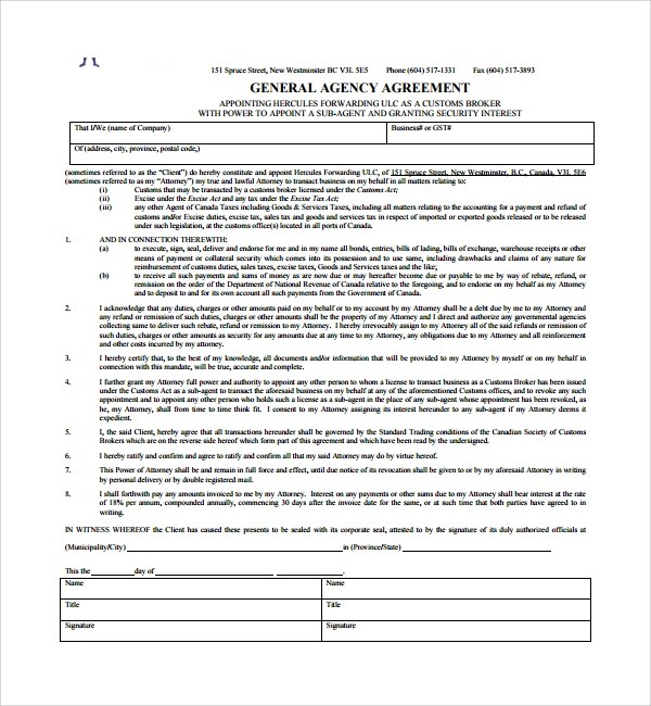 ... Sample Business Agency Agreement   7+ Free Documents Download In   Business  Agency Agreement Template ...