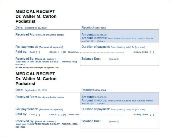 16+ Doctors Receipt Templates Sample Templates - editable receipt template