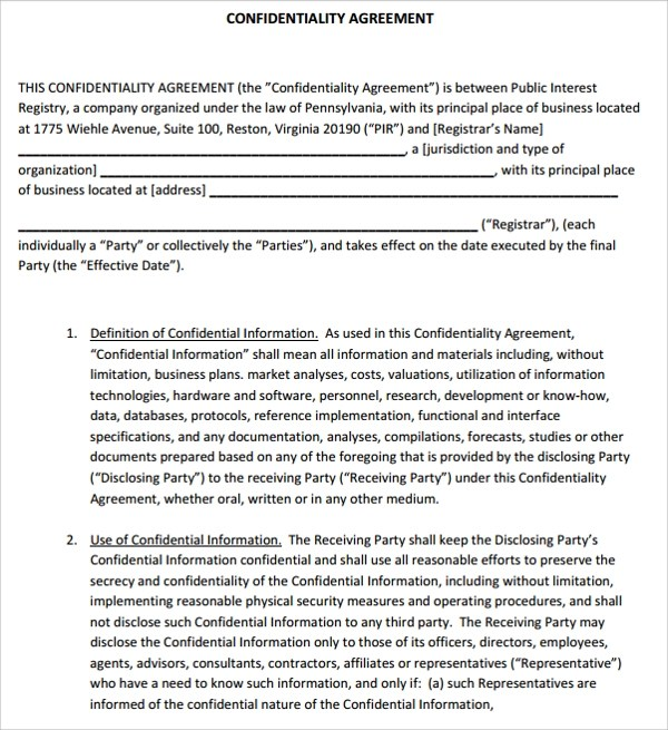 10+ Generic Confidentiality Agreement Templates Sample Templates - confidentiality agreement free template