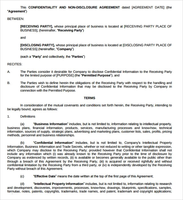 10+ Generic Confidentiality Agreement Templates Sample Templates - business non disclosure agreement