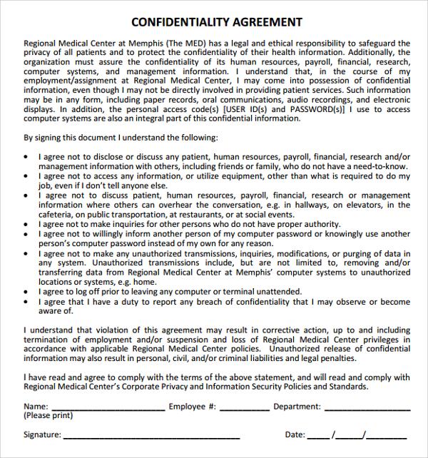 medical confidentiality agreement template - Pinarkubkireklamowe