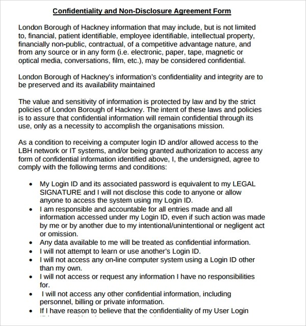 Non Disclosure Agreement Form Legal Confidentiality NonDisclosure - free non disclosure agreement form