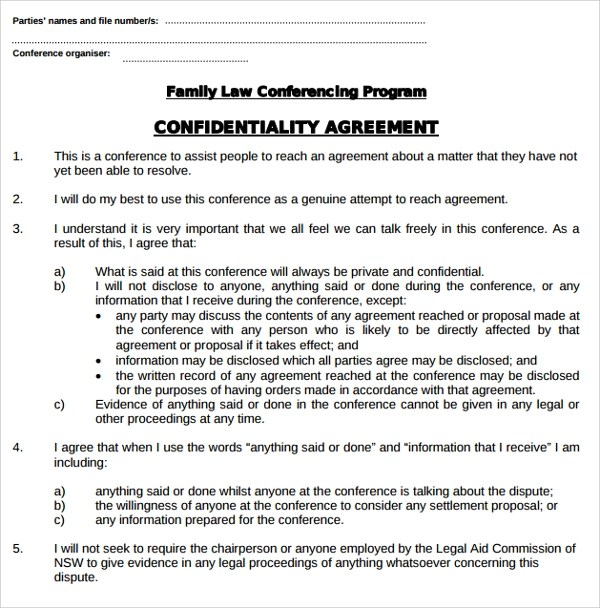 9+ Legal Confidentiality Agreement Templates Sample Templates