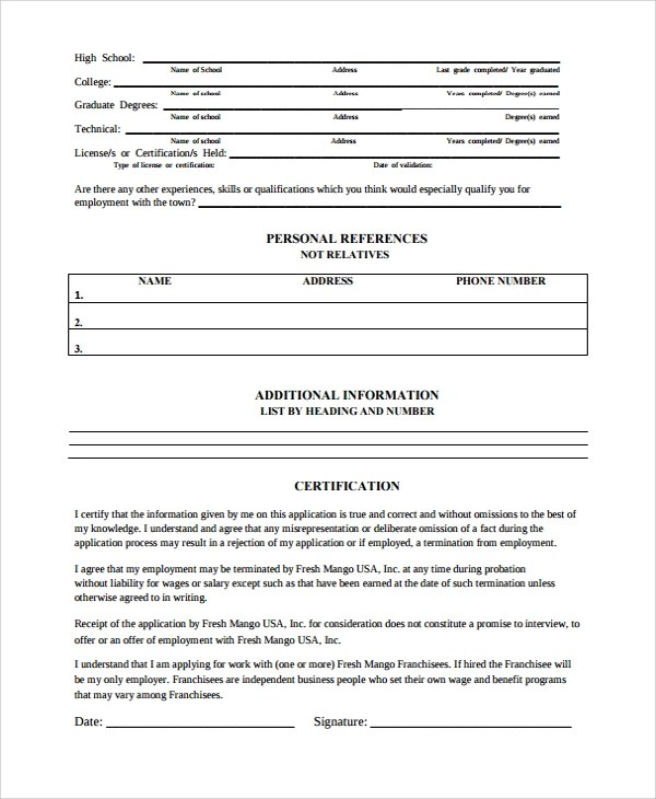 Sample Work History Template - 9+ Free Documents Download in PDF, Word